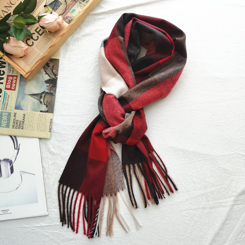 Unisex Color Matching Tassel Plaid Scarf