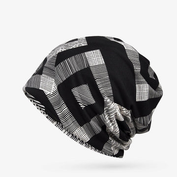 Unisex Elastic Geometry Pattern Cotton Hat