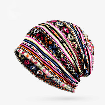 Unisex Prints Cotton Beanie Hat Scarf