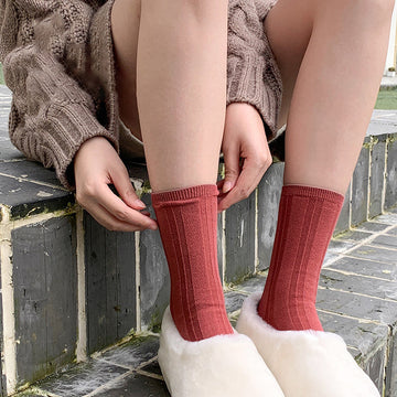 Unisex Pure Color Sport Cotton Socks(2 Pairs)