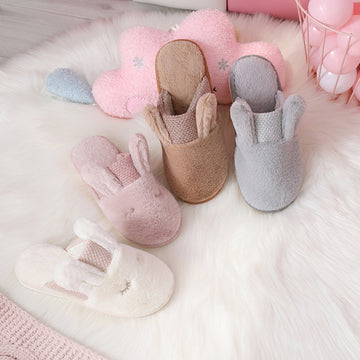Unisex Rabbit Solid Color Warm Plush Slippers