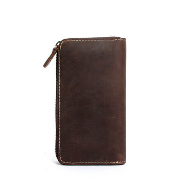 Unisex Retro Pure Color Zipper Leather Wallet
