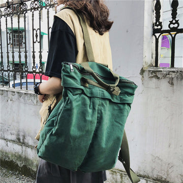 Unisex Solid Color School Bag Backpack
