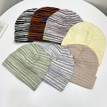 Unisex Striped Knitted Wild Elastic Hat(2 Pieces)