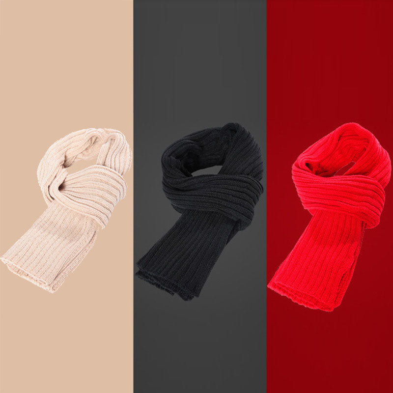 Unisex Winter Solid Color Knitted Warm Scarf