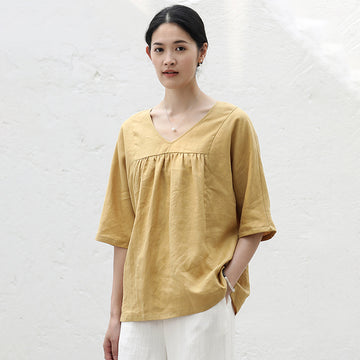 Plus Size- V Neck Casual Linen CottonT-Shirt