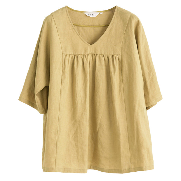V-Neck Casual Pure Color Plus Size T-Shirt