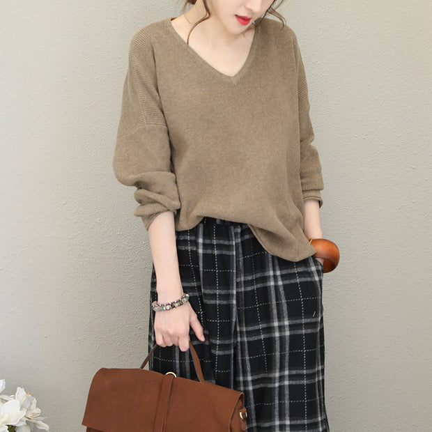 Buykud V-Neck Loose Curling Literary Casual Sweater