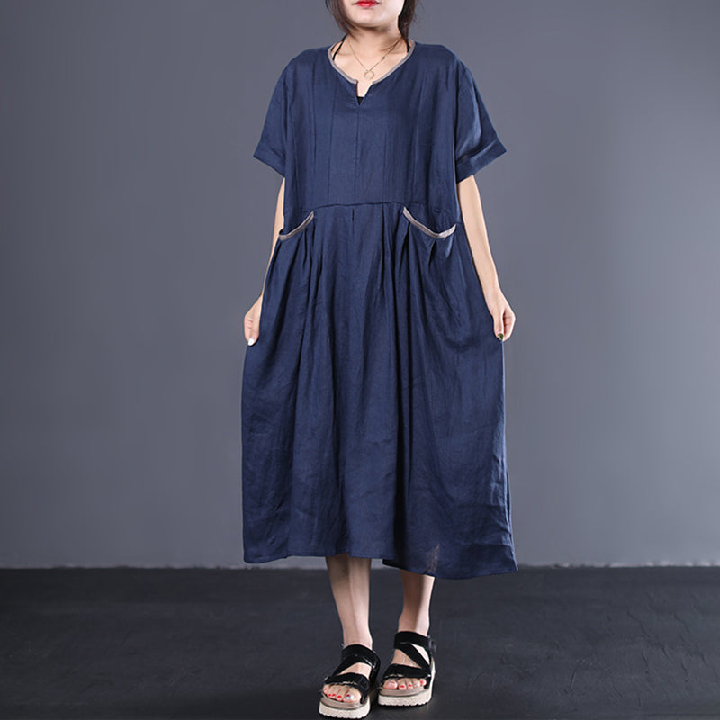 V-Neck Pleated Solid Color Loose Dress
