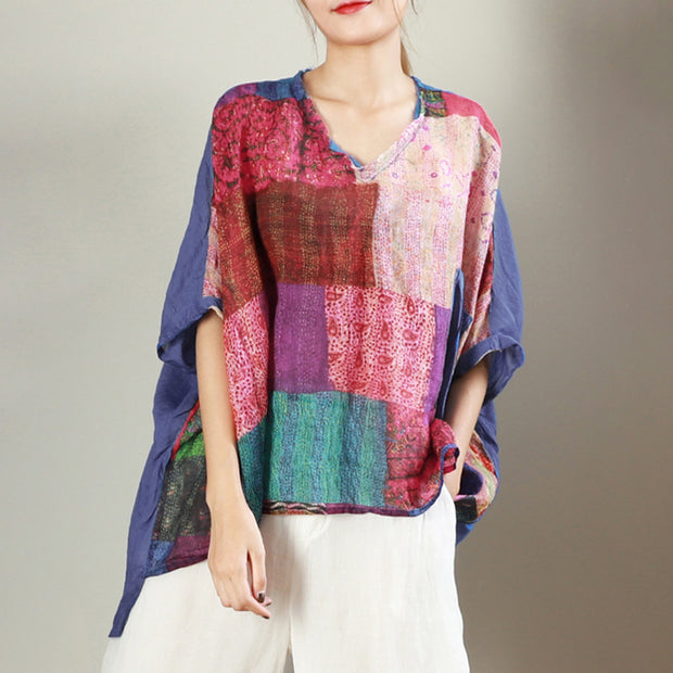 V-Neck Printed Casual Loose Breathable Blouse