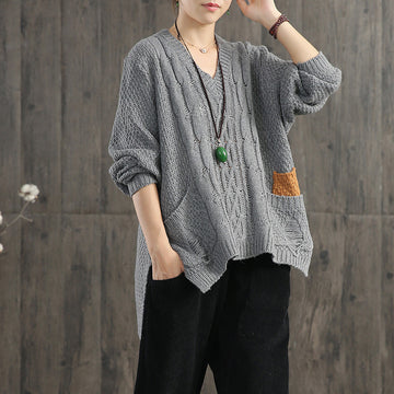 V-Neck Pullover Contrast Color Loose Sweater