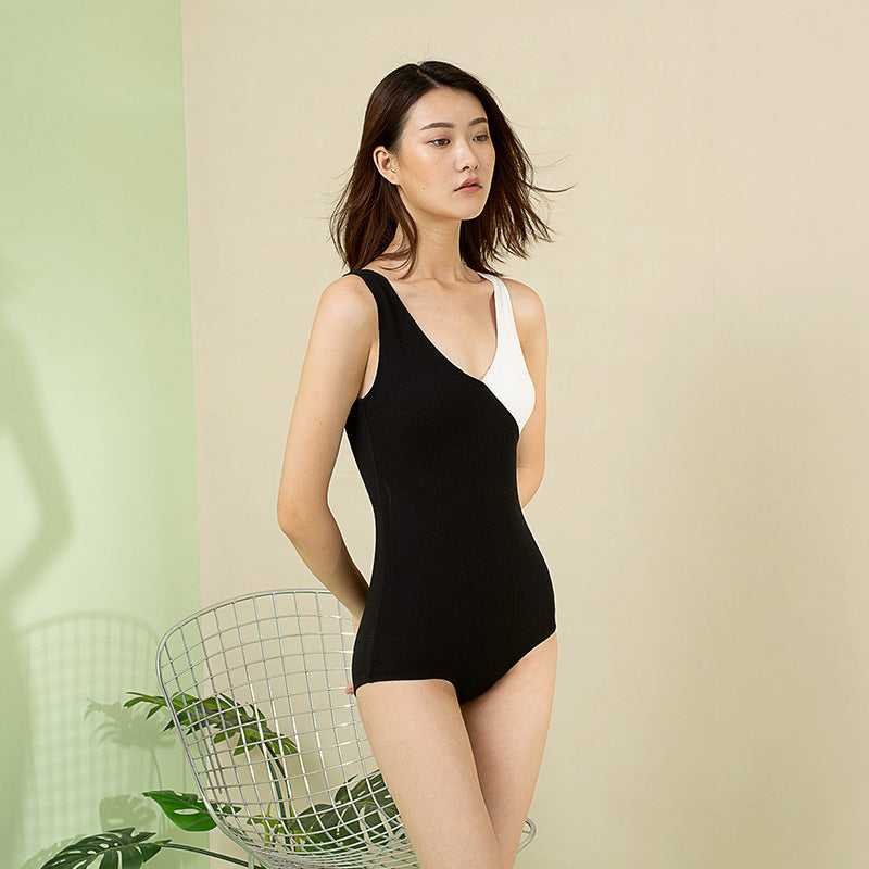 V-neck Contrast Color One Piece Swimsuit