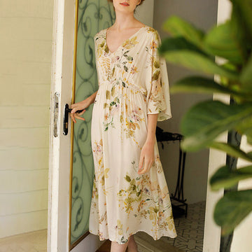 V-neck Floral Print Summer Half Sleeve Nightdress