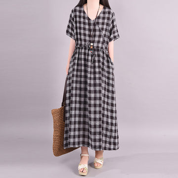 V-neck Plaid Drawstring Cotton Linen Loose Dress
