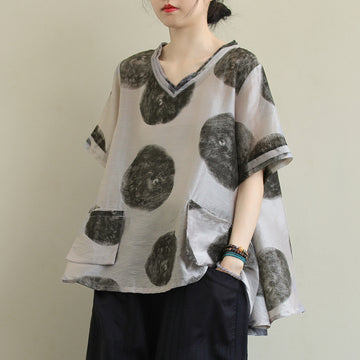 V-neck Polka Dot Half Sleeve Casual Linen T-shirt