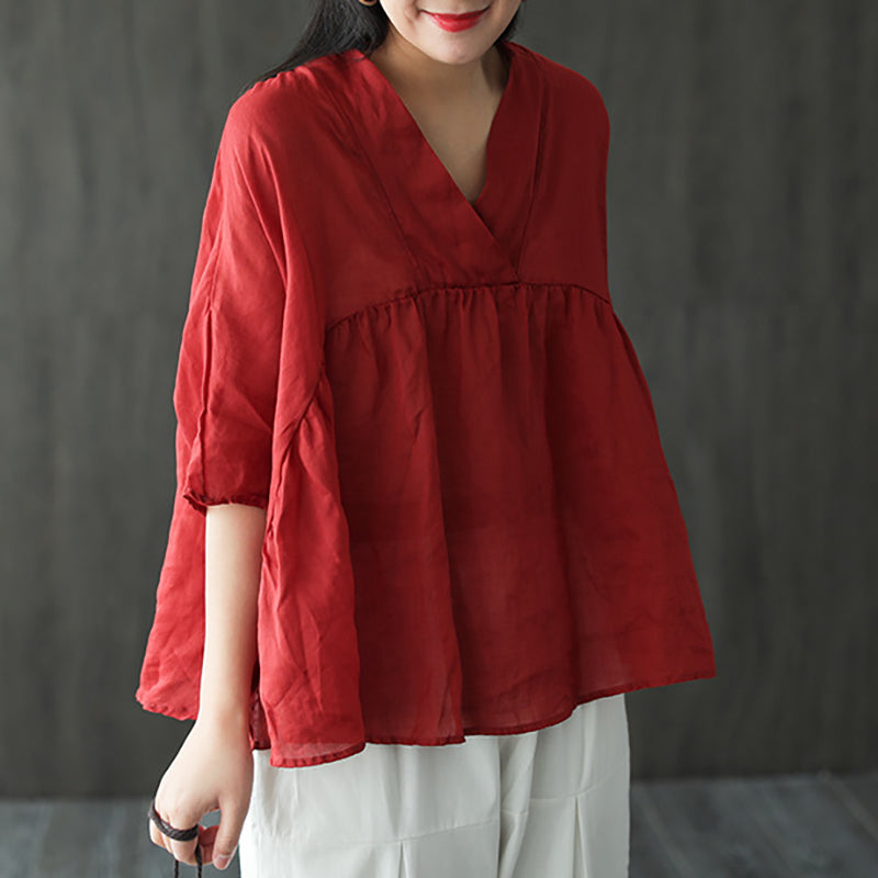 V-neck Pure Color Summer Bat Sleeve Ramie T-shirt