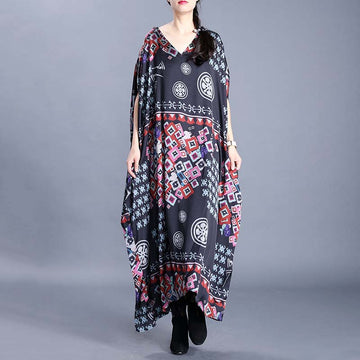 V-neck Batwing Sleeve Printed Loose Dress