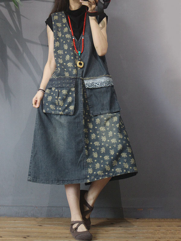 V-neck Floral Printed Sleeveless Denim Dress