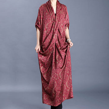 V-neck Folded Irregular Printed Dress