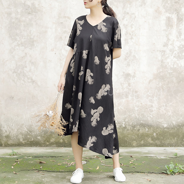 V-neck Loose Print Cotton Casual Summer Dress