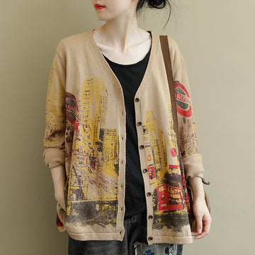 V-neck Printed Long Sleeve Casual Wild Coat