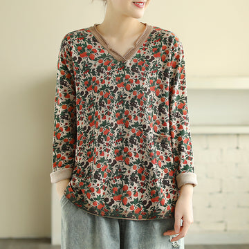 V-neck Strawberry Printed Knitted Shirt