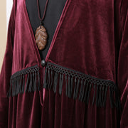 V Neck Long Sleeve Wine Red Pleated Dress