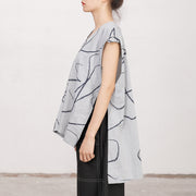 V Neck Sleeveless Irregular Printed Gray Vest