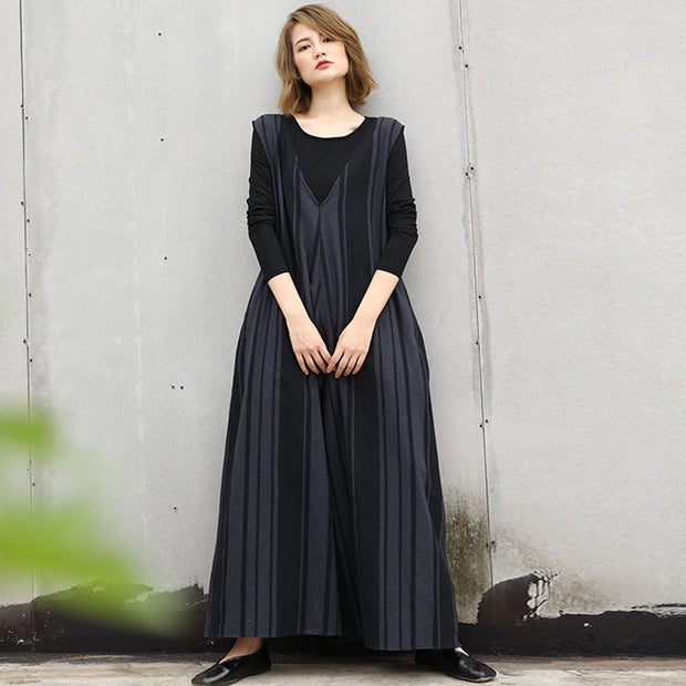 Vertical Stripe Autumn Cotton High Street Wide Leg Jumpsuit