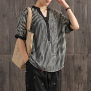 Vertical Striped Rhinestone Casual Elegant Blouse