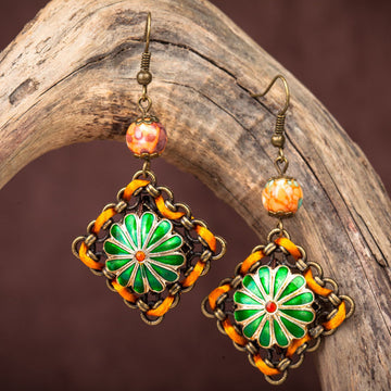 Vintage Cloisonne Pendant Earrings
