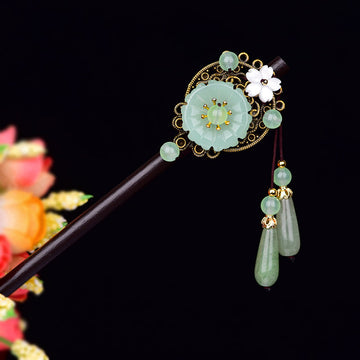 Vintage Colorful Jade Flower Hair Pins