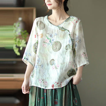 Vintage Floral O-neck Women Casual Ramie Button Shirt