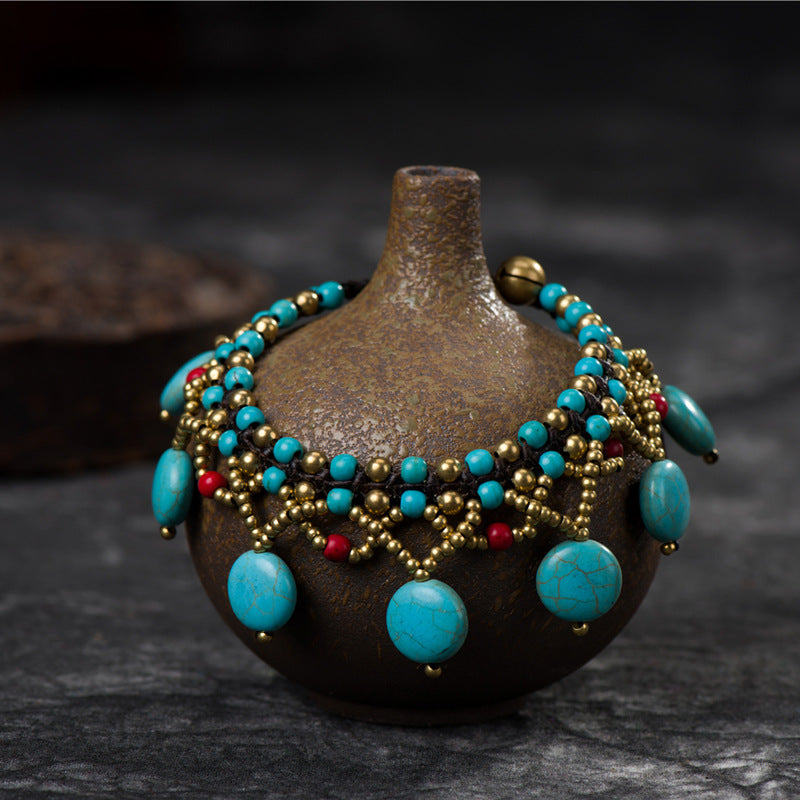 Vintage Hand-woven Hollow Turquoise Bracelet
