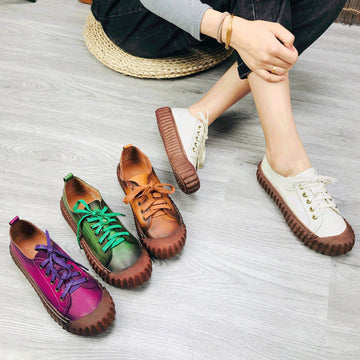 Vintage Leather Shoes Casual Lace-Up Shoes
