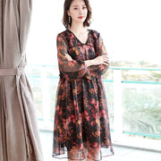 Vintage Chiffon Loose Floral Hollow Women Midi Dress