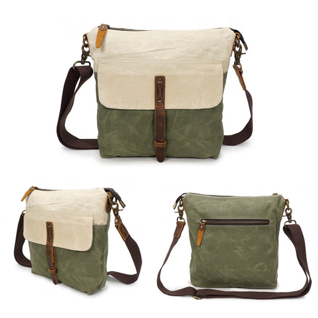 Vintage Color Matching Waterproof Crossbody Bag