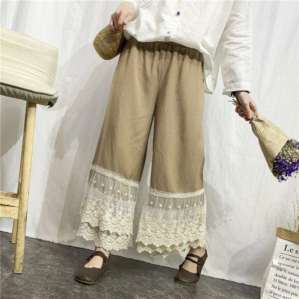 Vintage Cotton Casual Wide Leg Pants