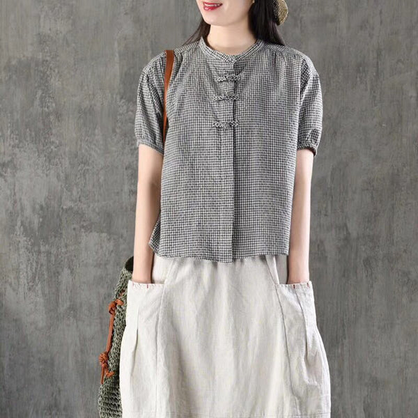 Vintage Cotton Linen Short Sleeve Blouse