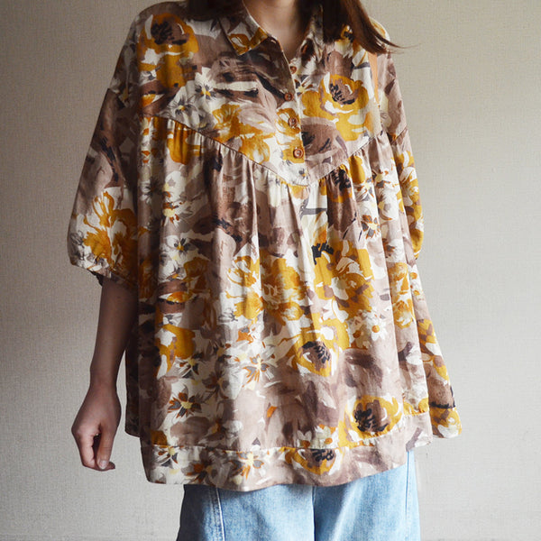 Vintage Cotton Print Short Sleeve Blouse
