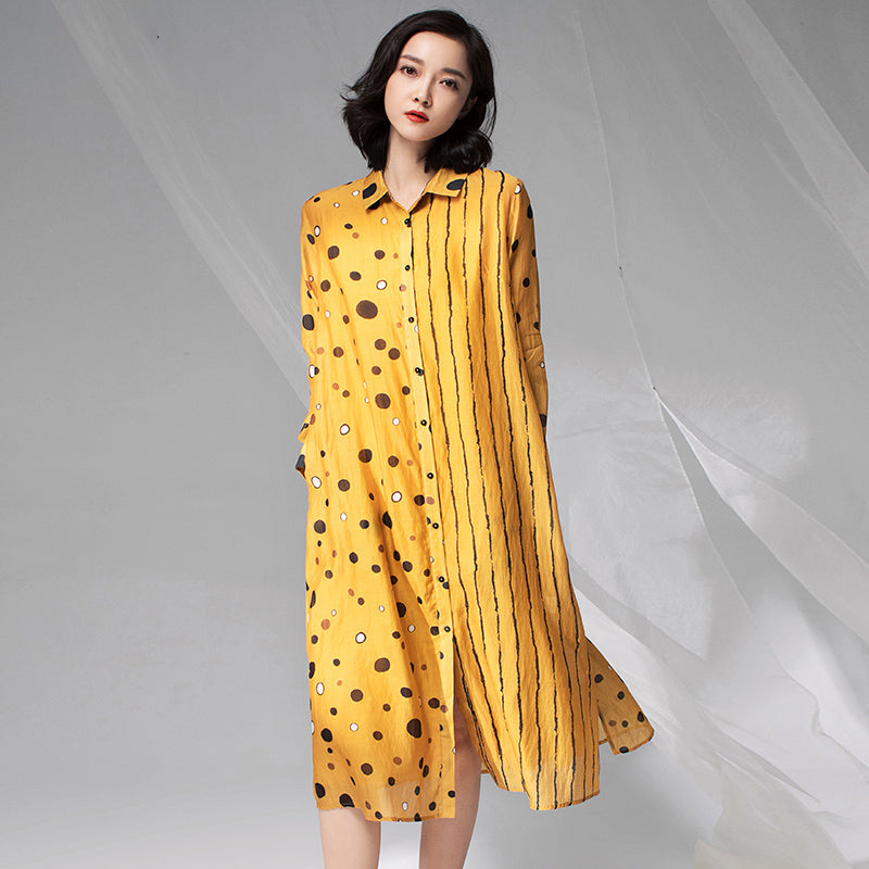 1f04a32df6f Vintage Dot Spliced Striped Silk Plus Size Dress