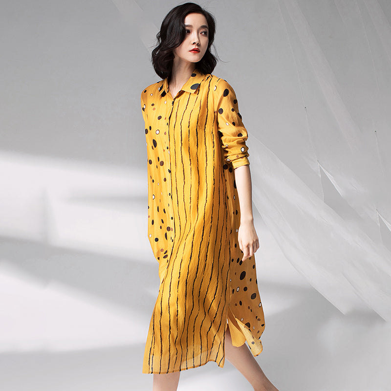 Vintage Dot Spliced Striped Silk Plus Size Dress