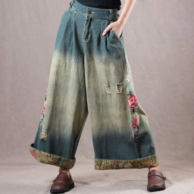 Vintage Embroidery Denim Wide Leg Pants