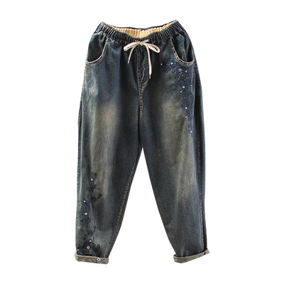 Vintage Embroidery High Waist Women Jeans