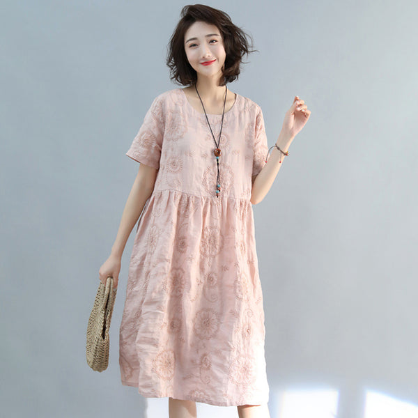 Vintage Embroidery Summer Linen Casual Dress