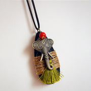 Vintage Ethnic Tassel Necklace Sweater Pendants