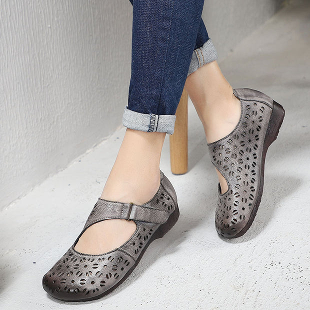 Vintage Female Hollow Out Flat Shoes