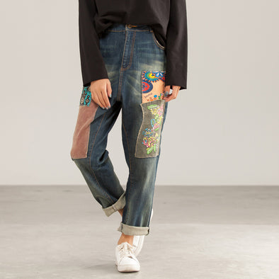 Vintage Flower Patchwork Denim Female Jeans