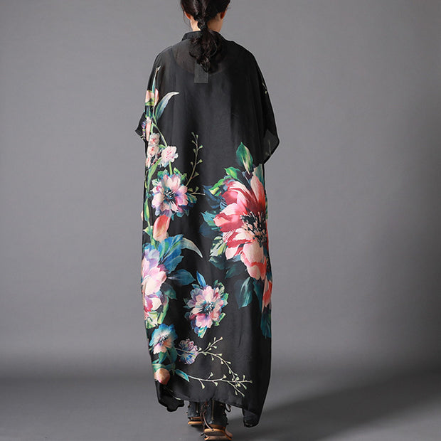 Vintage Flowers Printed Irregular Maxi Dress