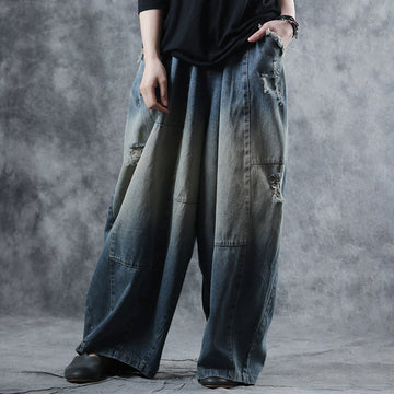 Vintage Frayed Hole Spring Wide Leg Pants Jeans